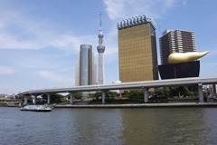 Asahi Beer HQ or the 'Poo' Building (Tokyo Sky Tree in the background) - Asakusa
