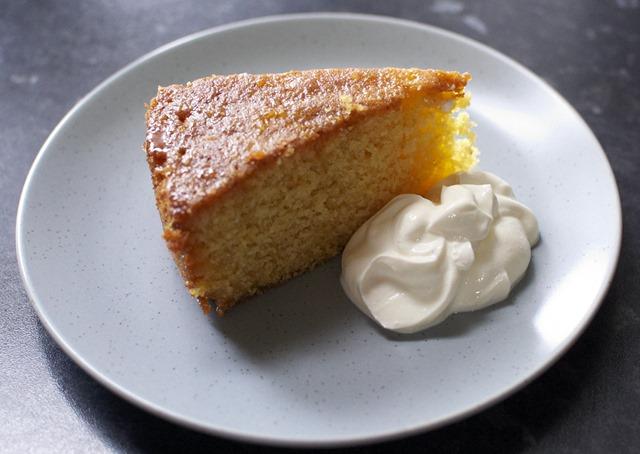 Orange Polenta Cake with Creme Fraiche