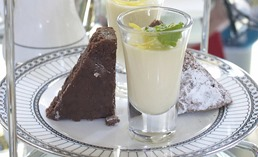 Chocolate Brownie and Lemon Posset