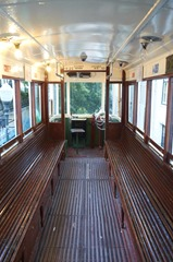 Inside the old tram