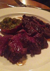 Hangar Steak with Red Wine and Bone Marrow Sauce