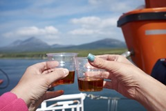 A goodbye dram with the Paps of Jura in the background