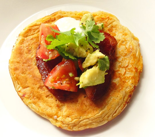 Sweetcorn and Chilli Pancakes with Maple Pancetta